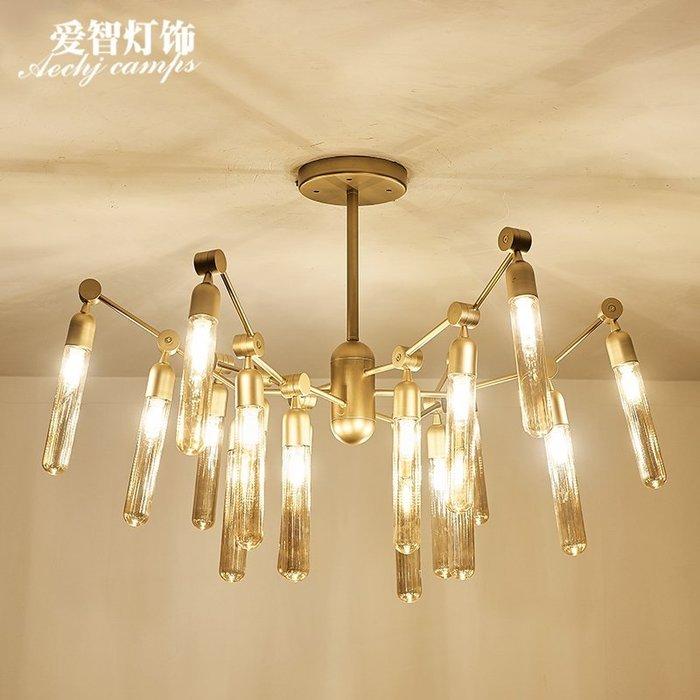 後現代客廳鐵藝玻璃蜘蛛吊燈北歐工業風餐廳玻璃吊燈【6-690源家精品】