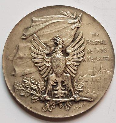 瑞士銅章1898 Neuchatel La Societe Le Pistolet Bronze Medal.
