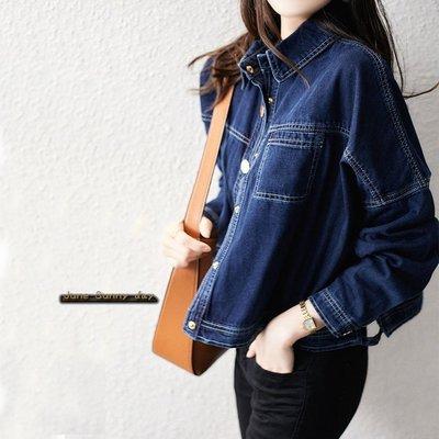 寬鬆短款休閒牛仔外套夾克++六月晴天++