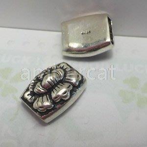 琥珀貓銀飾DIY【925純銀材料配件】造型方珠~A0567~蓮花~一個