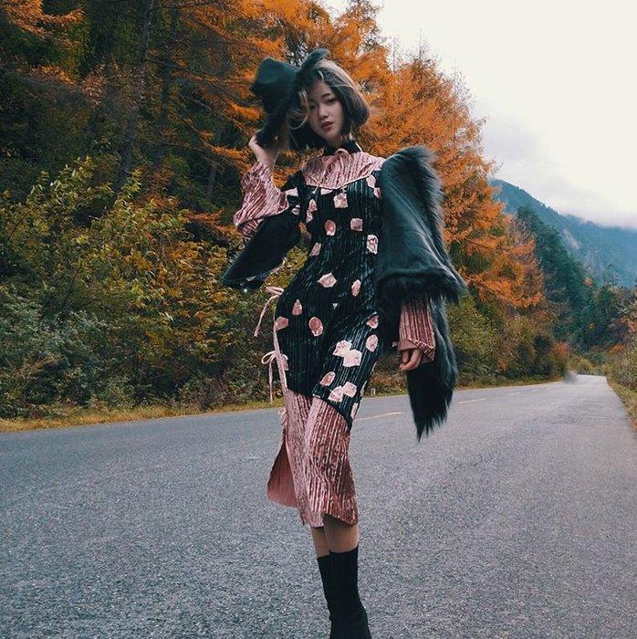 【鳳眼夫人】原創設計訂製款 裊裊娉婷 華貴設計款綁帶鑲珍珠時尚改良旗袍 絲絨拼接修身百摺開衩長洋裝連身裙 外拍晚宴小禮服