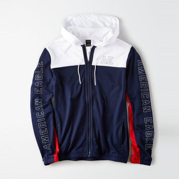 【AMERICAN EAGLE】AE男款連帽外套薄款左AE雙臂字拼紅白藍 F03190601-10