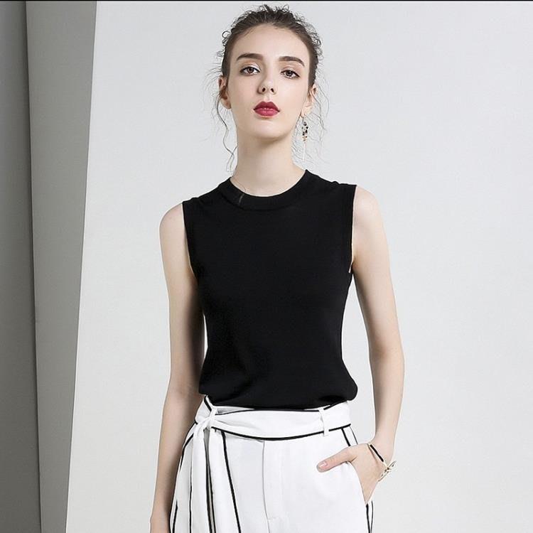 無袖上衣中大碼黑色冰絲女修身打底上衣針織寬女夏外穿 XW2974
