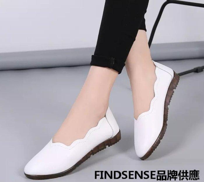 FINDSENSE品牌 四季款 新款 日本 女 高品質 個性 百搭 真皮 舒適 純色小皮鞋 休閒鞋  潮流鞋子