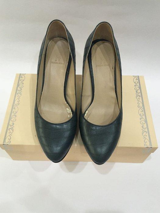百貨專櫃品牌 AS副牌 HELENE SPARK 藍綠色鱷魚紋壓花細跟高跟鞋 前高後高 防水台 23.5號