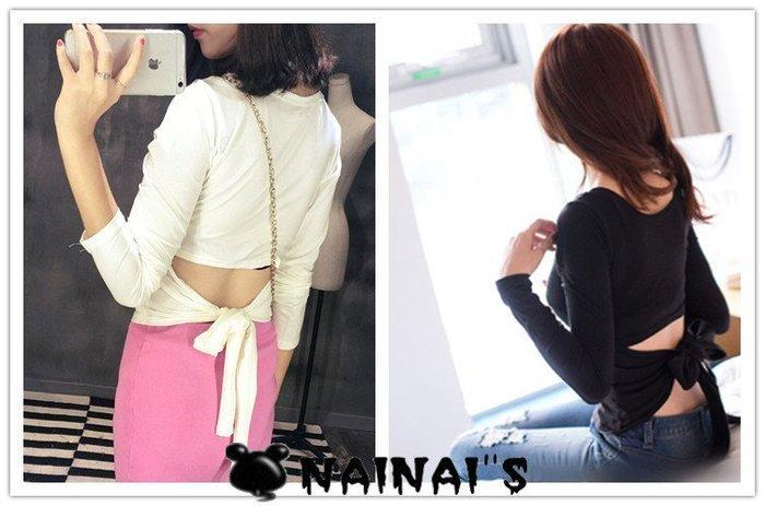 【NAINAIS】Fall‧OR 4713 韓版 超修身 美背款後背露腰綁帶蝴蝶結T恤 2色S-M 【預】