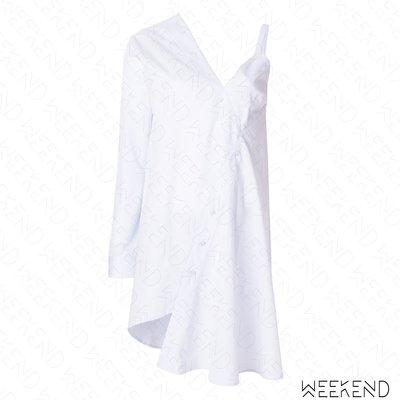 【WEEKEND】 EACH X OTHER 不對稱 單邊無袖 露肩 短洋 短裙 白色 18春夏新款