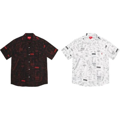 【美國鞋校】預購 Supreme FW20 Receipts Rayon S/S Shirt 短袖 襯衫