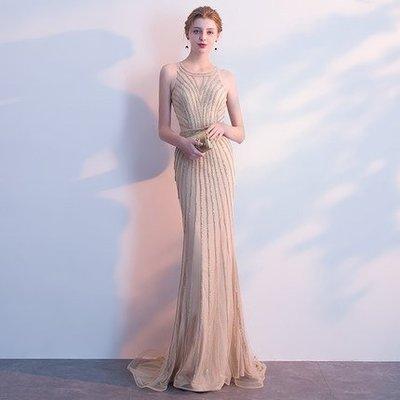 艾琳婚紗禮服~050529-16香檳色魚尾宴會晚禮服新款性感高貴主持人優雅年會禮服~ 3件免運