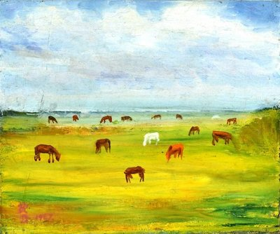 曾茂煌  牧馬  1967  8F   (新竹、鄉土、本土、台灣、油畫、紀元、台陽、美展、當代、藝術、裝飾、非複製)