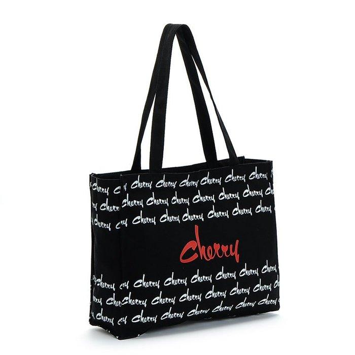☆Eric Zakka☆日本cherry黑色純棉帆布拉鍊單肩手提包 環保袋 A4可放資料袋【現貨】JH0949