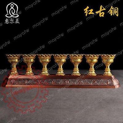 RELI~S223 密宗法器全合金蓮花酥油燈台一組7只蠟燭台佛教佛堂用品