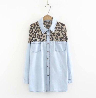 貓姐的團購中心~有超大尺碼~水洗牛仔雪紡豹紋拼接襯衫~XL-4XL一件550元~預購款