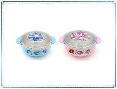 現貨_韓國製 POLI 救援小英雄 雙耳不鏽鋼碗附蓋 粉安寶 波力【Q寶寶】