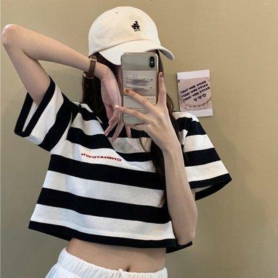 小香風 短袖T恤 時尚穿搭 韓版  顯瘦 字母條紋小心機露臍短款運動短袖T恤上衣女