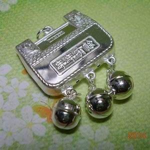琥珀貓銀飾DIY【990純銀飾品】吉祥墜飾~N9224~年年有餘鎖片~寬約24.5mm~一個