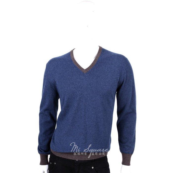 米蘭廣場 ALLUDE 100% CASHMERE 拼接設計V領毛衣(藍X咖) 1440549-34