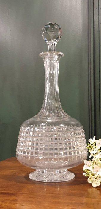 【卡卡頌 歐洲古董】法國老件  深雕刻  大   水晶  醒酒器  醒酒瓶  老件未用  g0589