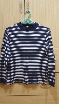 bossini kids 專櫃 男大童 藍白橫條紋立領厚棉長袖上衣 150cm 可單穿內搭