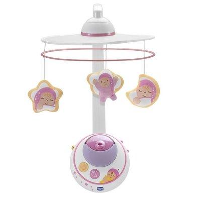 【魔法世界】Chicco 三合一魔法天使旋轉音樂鈴(附遙控)+LED投影投射 粉 買及贈 chicco 彈性矽膠學習湯匙
