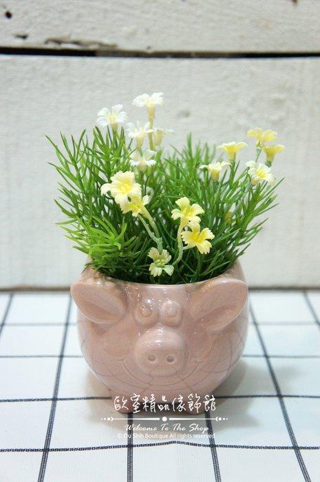 ~*歐室精品傢飾館*~ 鄉村風格 高溫 陶瓷 可愛 小豬 豬 花器 置物盒 糖果罐 裝飾 擺飾 多肉植物 ~新款上市~