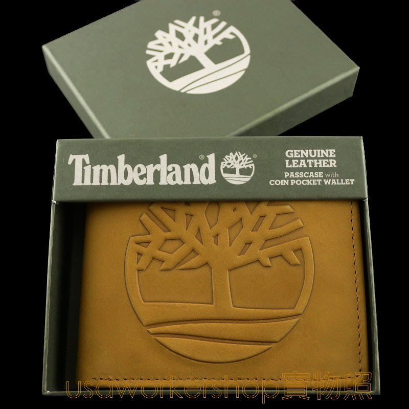 【Timberland專櫃正品】2020最新款浮凸大樹LOGO 小麥色麂皮零錢袋 短夾 男用 男生皮夾