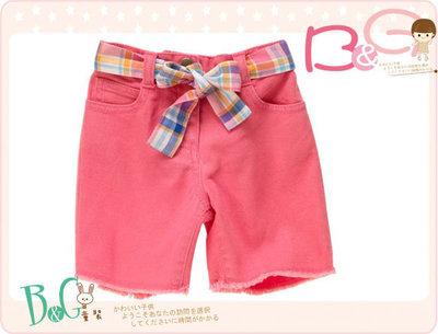 【B& G童裝】正品美國進口Crazy8 腰繫彩色帶粉紅色格紋布短褲12-18mos