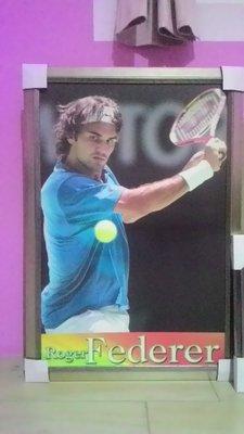 絕版!世界排名第一 2018年 澳網冠軍 費德勒Roger Federer 大型海報 含框(53*93cm)