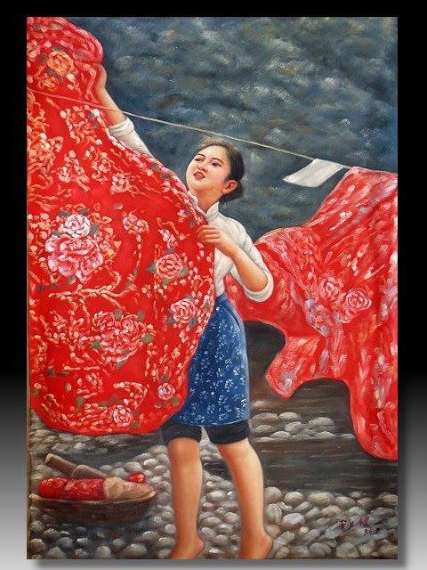 【 金王記拍寶網 】U1375 中國近代油畫名家 李自健款 手繪油畫一張 大紅花被 ~ 罕見稀少 藝術無價~