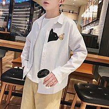 2018春季新款長袖白襯衫男士韓版潮流修身青少年學生百搭休閑寸衫