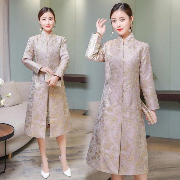 女裝改良版 旗袍上衣 中國風 復古印花長款唐裝外套大衣洋裝