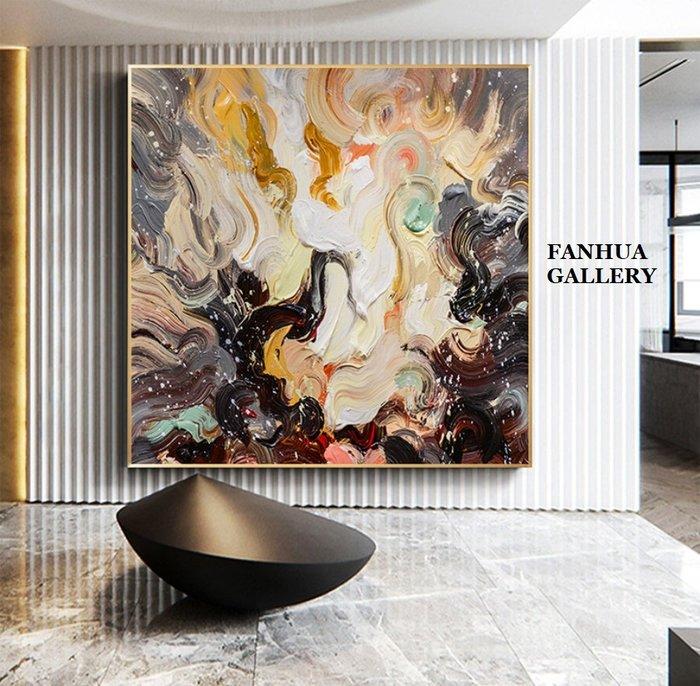 C - R - A - Z - Y - T - O - W - N 純手繪立體油畫彩色烈火時尚抽象方形掛畫玄關藝術裝飾畫別墅飯店設計師款高檔手繪油畫收藏品味油畫