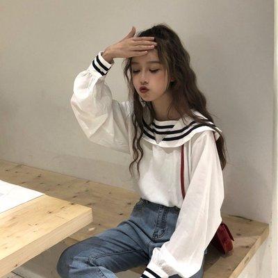 韓小屋新款襯衫chic韓版學院海軍風娃娃領襯衫女2019夏季寬松百搭長袖襯衣上衣潮