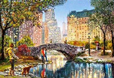 歐洲拼圖 CAS.繪畫風景 美國 紐約 散步 中央公園 1000片拼圖,104376
