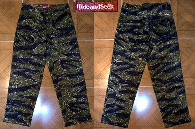 全新日本製正品HIDE and SEEK Fatigue Pants TIGER CAMO 綠虎斑迷彩軍用工作長褲