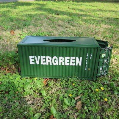 *現貨限時優惠*金屬貨櫃面紙盒 Evergreen 綠色 + 閥門掛勾兩個 + 木棧板杯墊一組四個