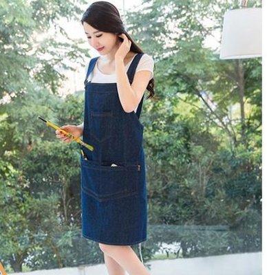 [潮開店]時尚牛仔吊帶式圍裙 工作圍裙...