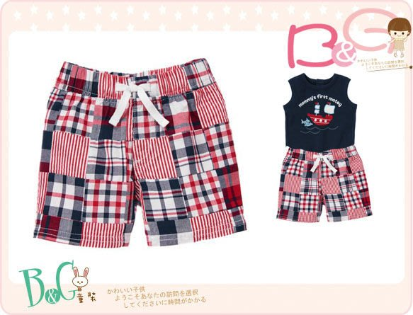 【B& G童裝】正品美國進口GYMBOREE Plaid Patchwork Short 紅格子拼布短褲6-12mos