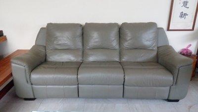 【 自售 】 皇齊 電動可躺式 真皮 應該是全牛皮 大組 3人座 皮沙發 送清潔保養液 非手動 超舒服 直接靠壁免留縫隙