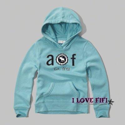 ❤美國專櫃帶回真品❤a&f童裝abercrombie&fitch kids girl hoodie麋鹿連帽Tee-水藍色