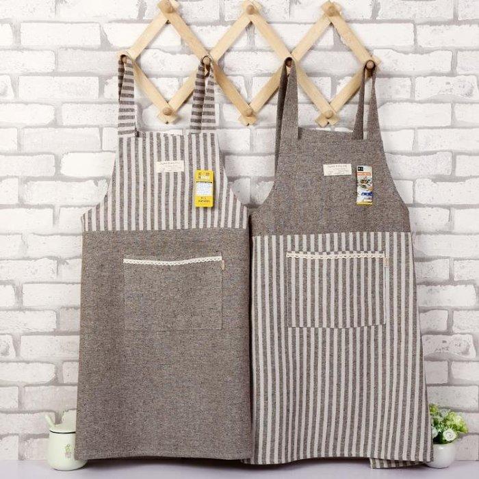 日式拼接條紋背帶布藝簡約棉麻廚房防油咖啡店工作服
