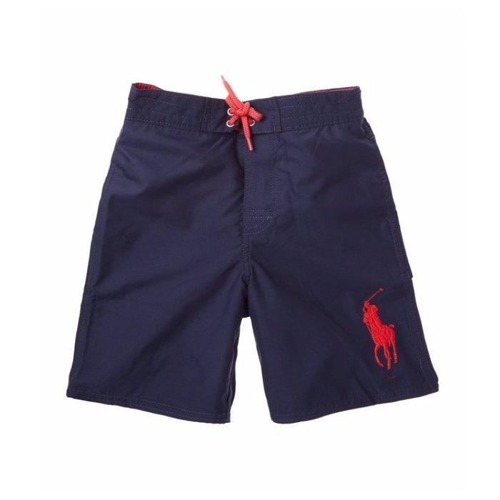 美國百分百【Ralph Lauren】褲子 RL 口袋 大馬 泳褲 海灘褲 衝浪褲 短褲 深藍色 XS S號 G955
