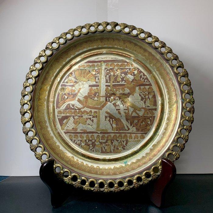 古董老件 埃及 手工老銅盤 圖坦卡門