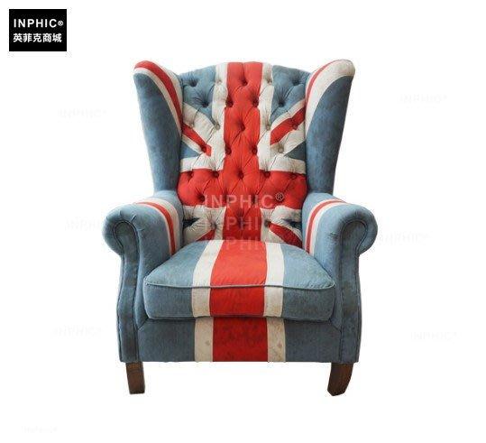 INPHIC-復古帆布手工英國旗老虎椅 單人沙發_Y328