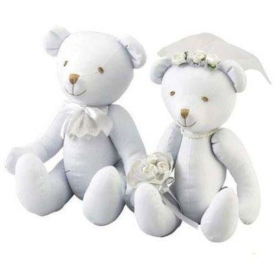 尼德斯Nydus~* 日本正版 純白小熊 泰迪熊 結婚禮盒 結婚組 娃娃 絨毛玩偶 公仔 自由彩繪 附8色筆