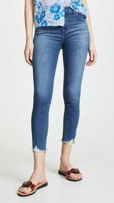 ◎美國代買◎J brand Alana 藍波紋刷色褲口刷破設計時尚街風高腰顯廋破褲口七分合身牛仔褲