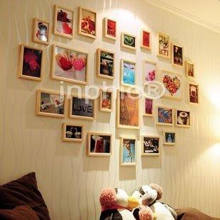 INPHIC-框畫超大28框照片牆 心形相片牆 實木相框牆創意相框組合