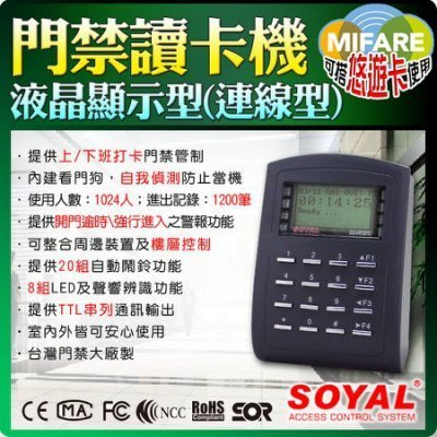 SOYAL MIFARE 門禁讀卡機 連網型 防拷 液晶顯示型 樓層管制 數位門鎖 電子鎖 防盜 套房 密碼鎖 刷卡機