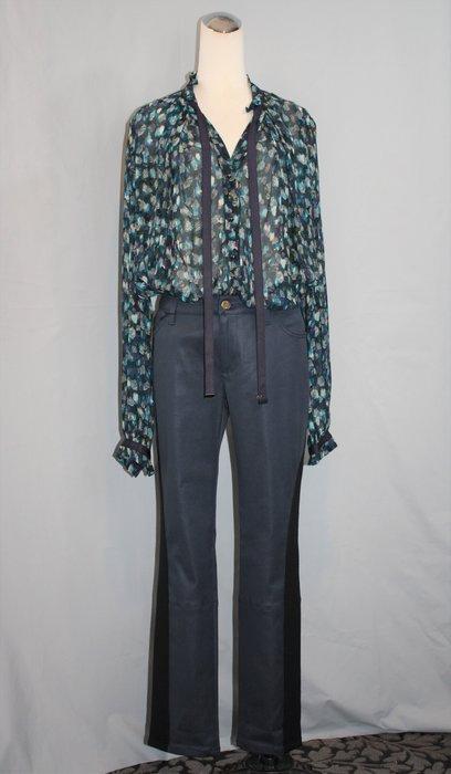 海洋工坊二手名牌旗艦店~Louis Vuitton 藍灰色黑邊直筒褲