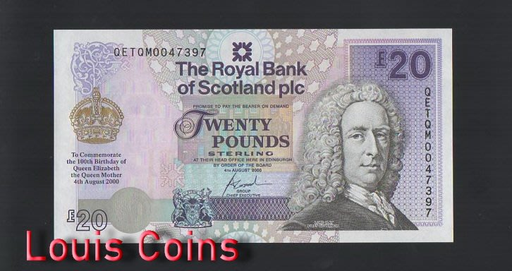 【Louis Coins】B342-SCOTLAND-2000蘇格蘭紙幣,20 Pounds Sterling